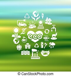 Eco Icons Silhouettes on Blurred Ba - Set of one color...