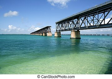 Floride, clés, cassé, pont, turquoise, eau