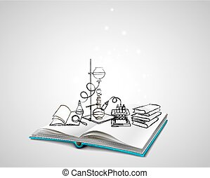 Science icons doodles Chemical Laboratory - Open book with a...
