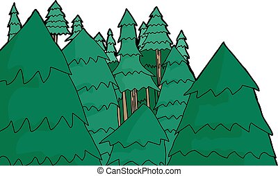 Group of Pine Trees - Group of hand drawn pine trees over...