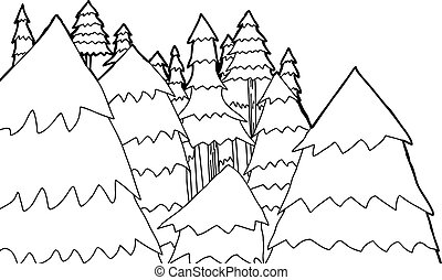 Outline of Pine Trees - Group of hand drawn pine trees in...