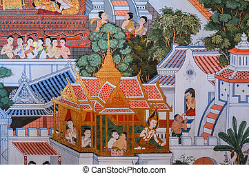 Native Thai mural painting - Traditional Thai mural painting...