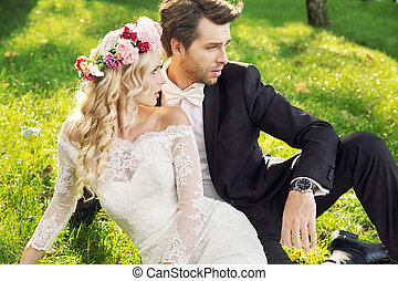 Alluring wife with her handsome groom