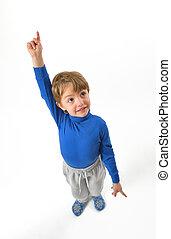 boy pointing upwards - isoalted little boy pointing upwards