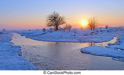 sunset over winter river