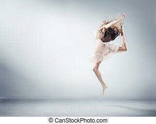 Flexible young girl in ballet figure - Flexible young woman...