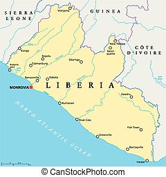 Liberia Political Map with capital Monrovia, national...