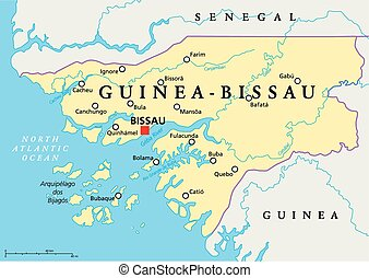 Guinea-Bissau Political Map with capital Bissau, national...