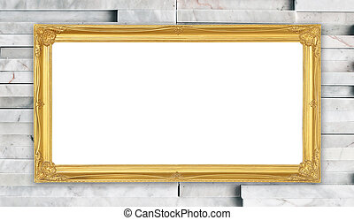 golden frame on modern marble wall backgrond - blank golden...