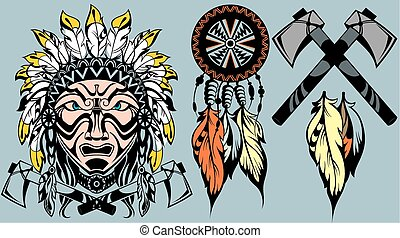 Brave American Indian warrior head  - tattoo design elements