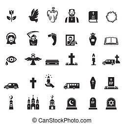 Funeral icons - Vector black funeral icons set on white...