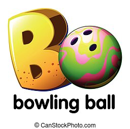 A letter B for bowling ball on a white background