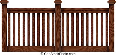 A wooden fence template on a white background