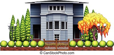A big house with fence and plants