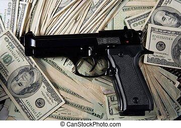 dólar, notas, arma, pretas, pistola
