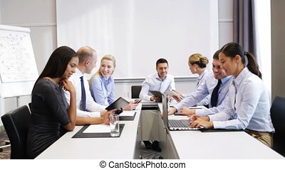 smiling business people meeting in office - business, people...