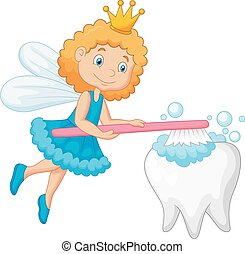 Cartoon Tooth fairy brushing tooth - Vector illustration of...