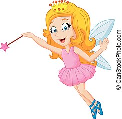 Cartoon fairy with magic wand - Vector illustration of...