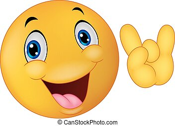 Emoticon smiley cartoon giving hand