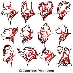 Chinese zodiac signs - Zodiac symbols