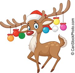 Cartoon Deer with Christmas ball - Vector illustration of...