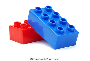 Toy plastic blocks isolated on white background