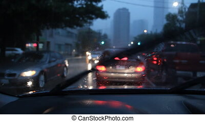Rainstorm in the city.