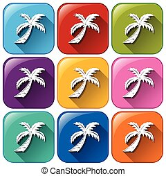Buttons with coconut trees