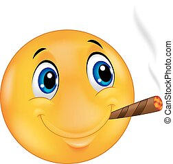 Cartoon Emoticon smiley smoking cig - Vector illustration of...
