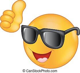 Smiling emoticon cartoon wearing su - Vector illustration of...