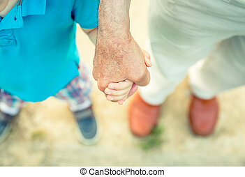 natura, mano, presa a terra, bambino, anziano, uomo