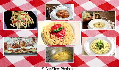 italian pasta, composition with tablecloth