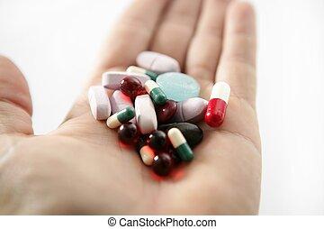 píldoras, encima, blanco, salud, o, suicidio