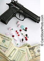 dólar, notas, arma de fuego, negro, pistola