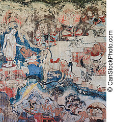 Ancient mural painting - Ancient Buddhist temple mural...