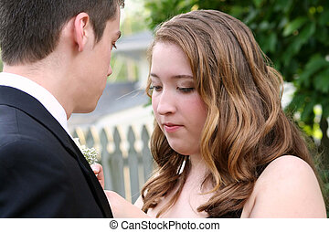 Nervous Prom Girl Fixes Boutonniere