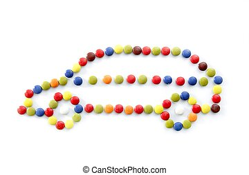 candy car isolated over white background
