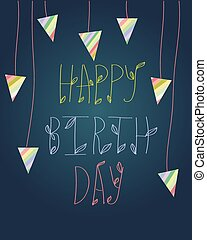 Birthday cute greeting card with box. Vector invitation