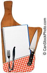 madera, viejo, cuaderno, corte, tabla, vacío