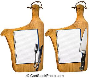 madera, viejo, tablas, cuadernos, corte, vacío