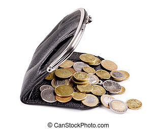 Purses and gold coins On a white background