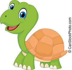 Cute cartoon green turtle - Vector illustration of Cute...