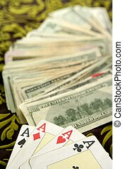 dollar notes and poker cards, gambler tools recreation