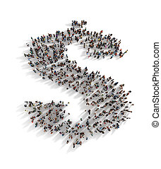 Large group of people forming the symbol of a dollar sign....