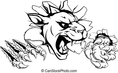 Panther claw breakthrough - A scary panther mascot ripping...