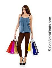 jovem, mulher, com, shopping, sacolas, sobre, branca, fundo,...