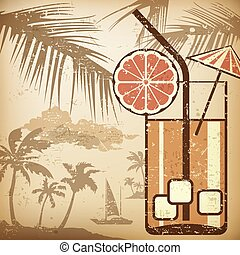 Cocktail party poster in retro style, vector illustration