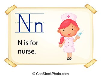 Letter N - Poster of and alphabet N