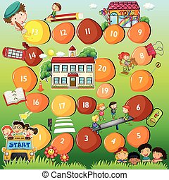 Board game theme for children - Illustration of a board game...