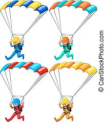 Parachute - Set of four parachutists flying down